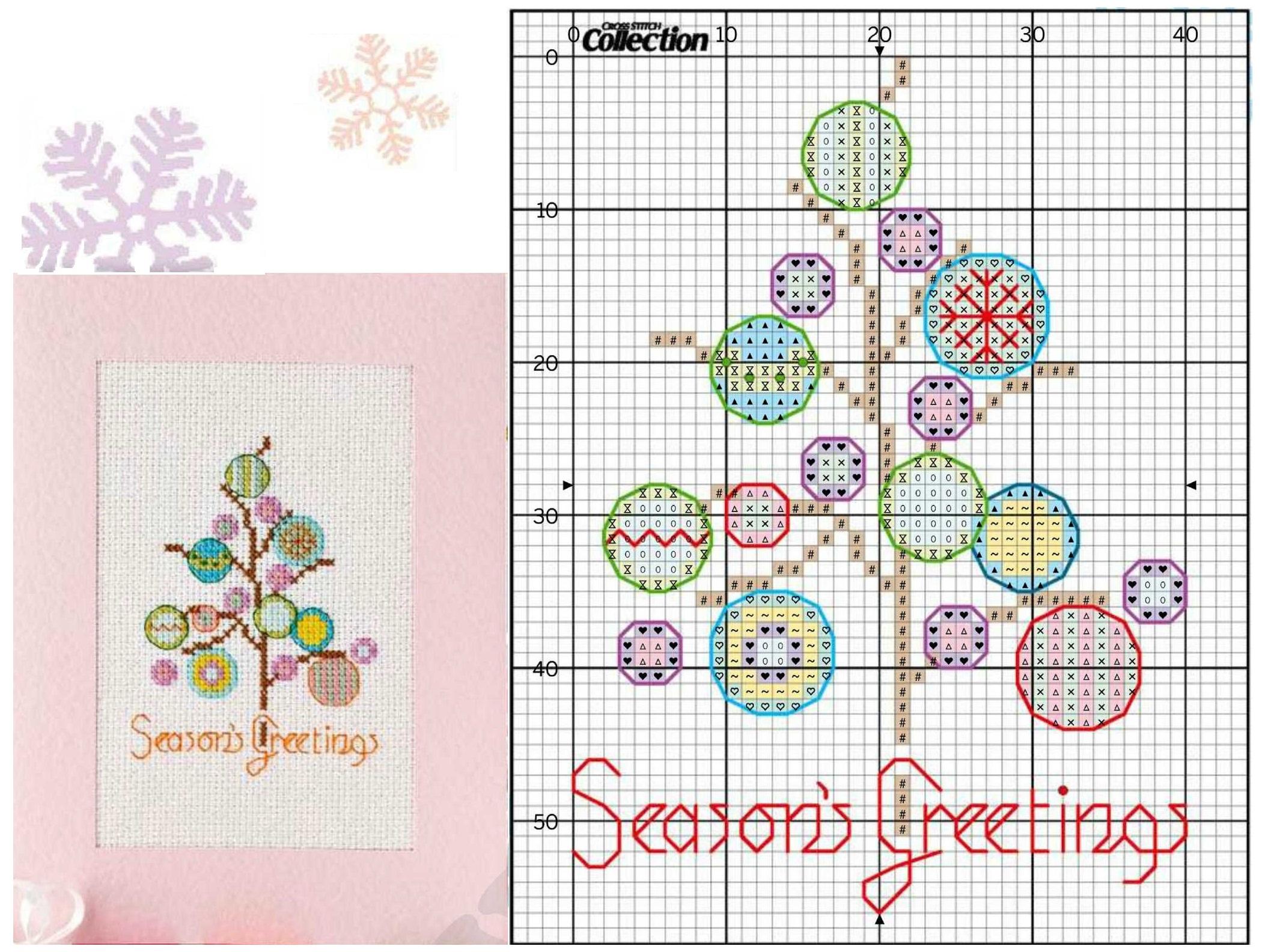 Вышивка крестом схемы открытка новогодняя