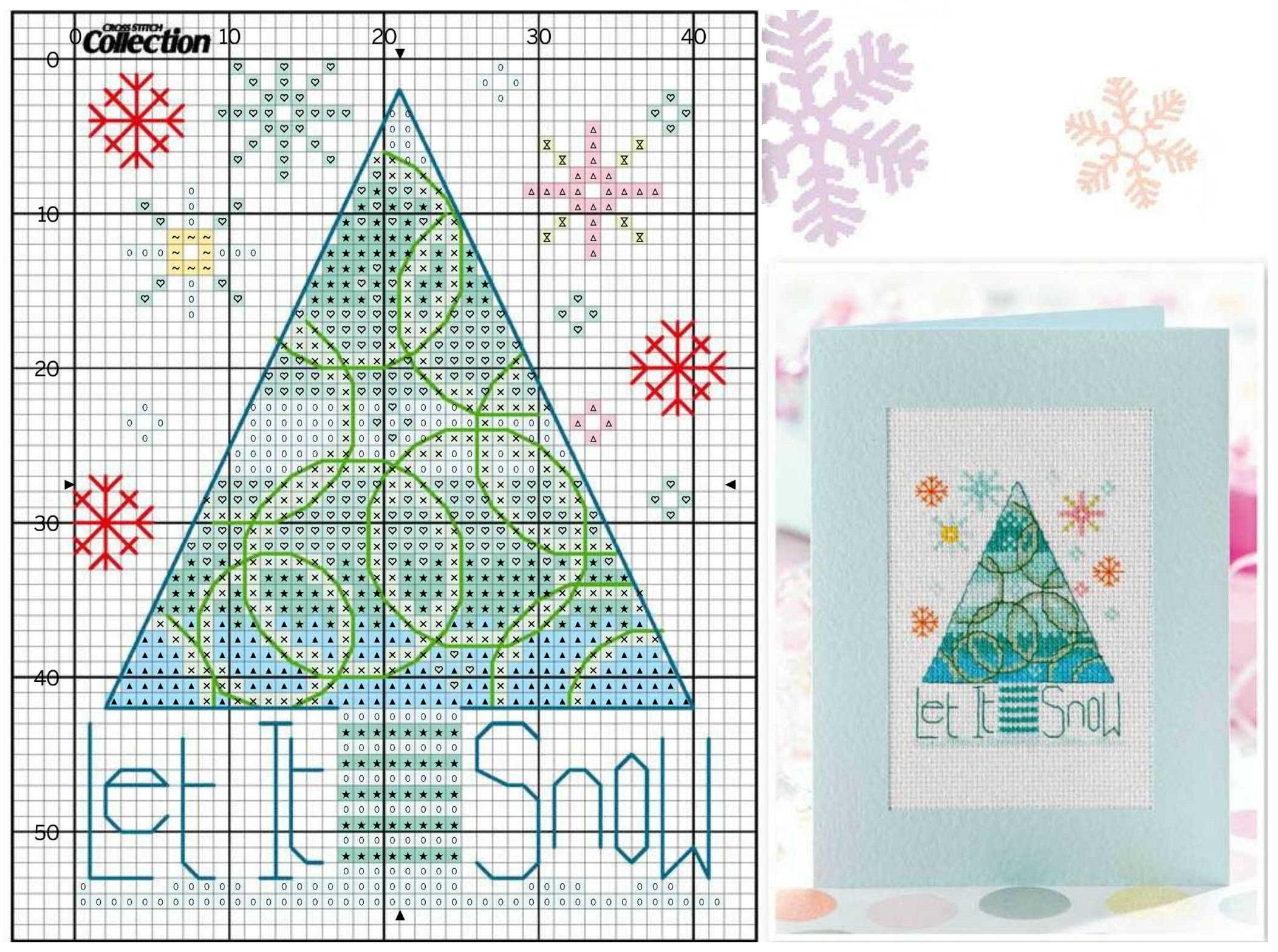 Схемы вышивки для новогодних открыток и