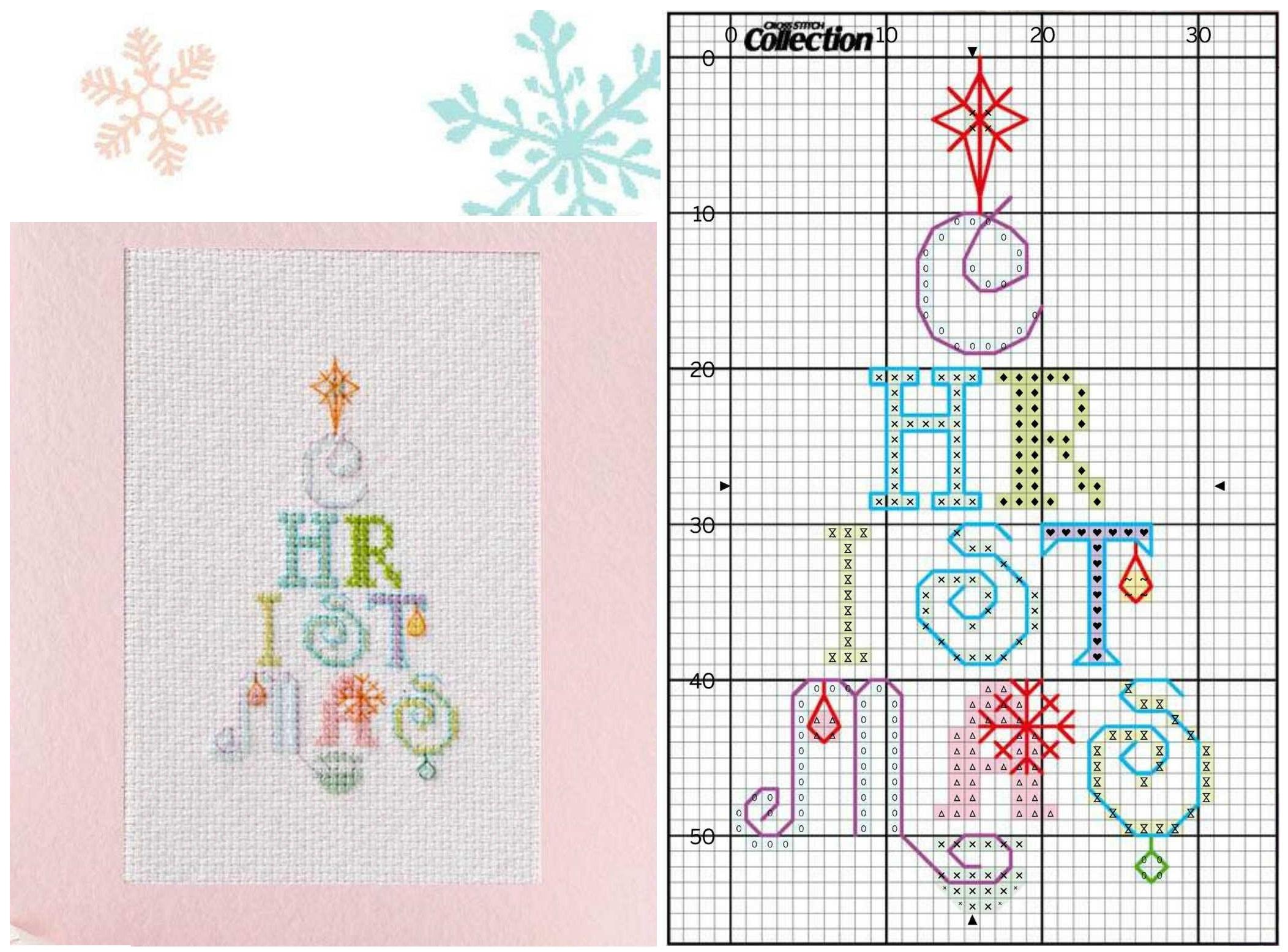 Вышивки новогодние для открытки с днем рождения