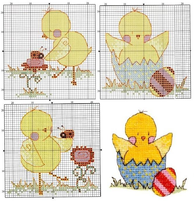 Схемы вышивки крестиком цыпленок