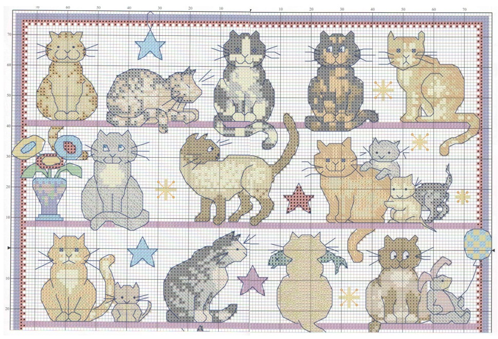 Схемы подушка кот вышивка крестом схема