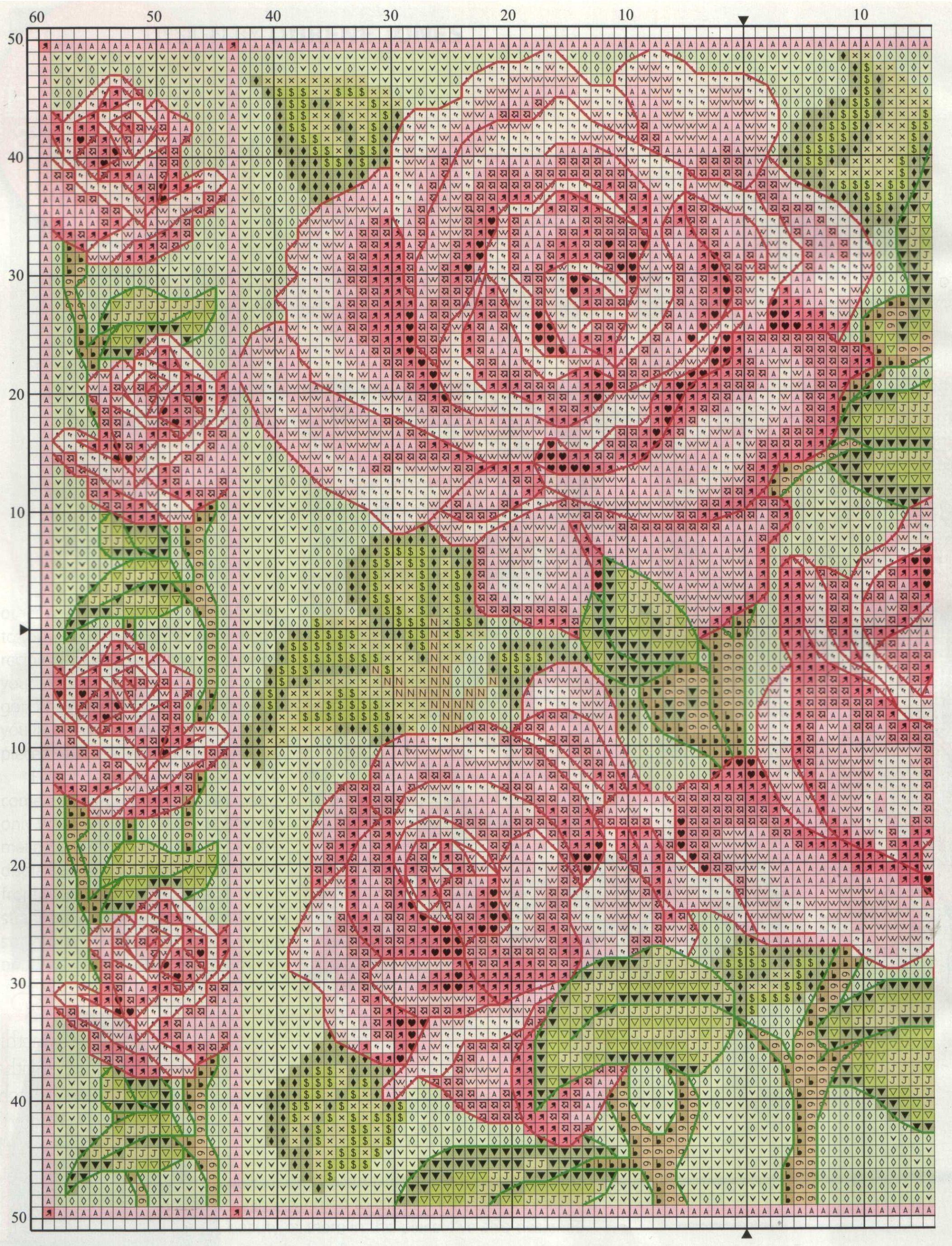 Крупные розы вышивка