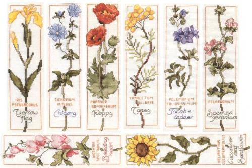 цветы, вышивка крестиком, закладки своими руками, закладки с цветами, схемы для вышивки
