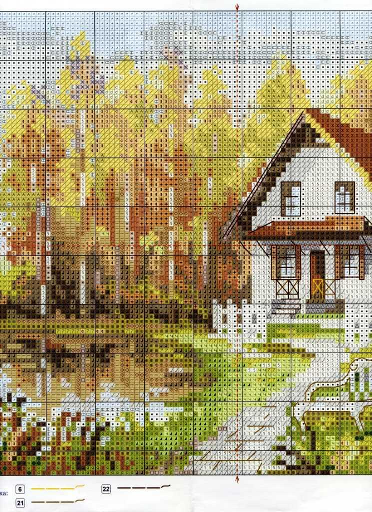 Вышивка крестом схемы домов 96