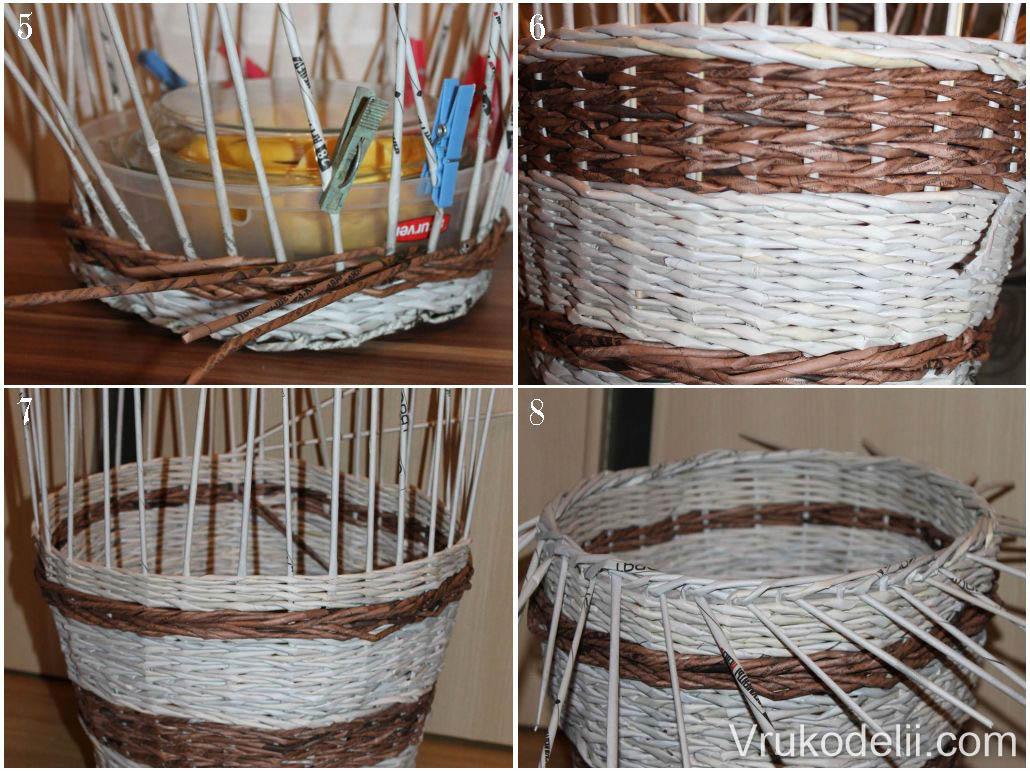 Завершение плетения корзины из газет