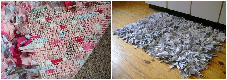 Пушистый коврик из лоскутков
