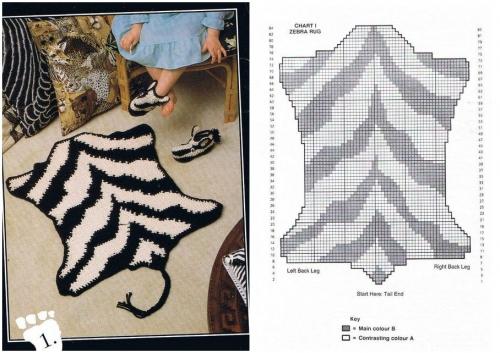 зебра связанная крючком петлями с накидом, вязание для детей, схема вязания шкура зебры, ковер в детскую спальню, коврик своими руками