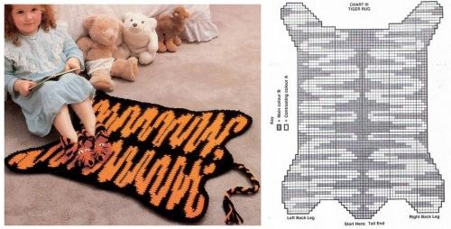 вяжем детям, вязание для детей схемы, ковер в детскую комнату своими руками, схема вязания шкура тигра, коврик вязание крючком для начинающих, ковер связанный крючком