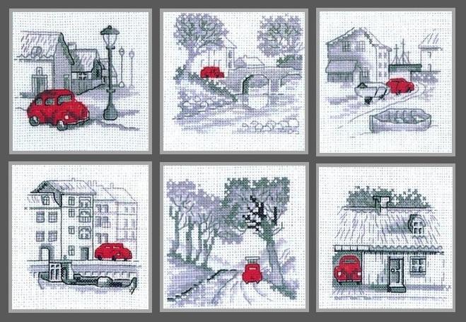 Схема вышивки приключения красной машинки
