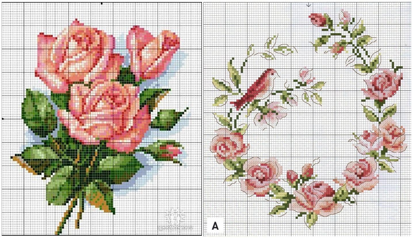 Вышивка мулине схемы цветов