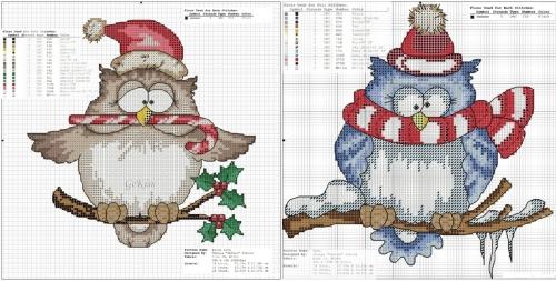 зимние новогодние совушки, совы в шапке санты, сова в полосатом шарфе, совы, совушка, простые схемы для вышивки крестом