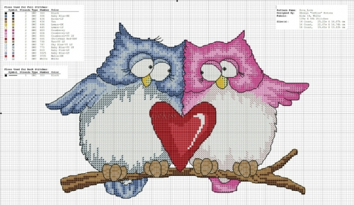 влюбленные совы, совушки и сердце, простая схема для вышивки крестом, сова, совушка
