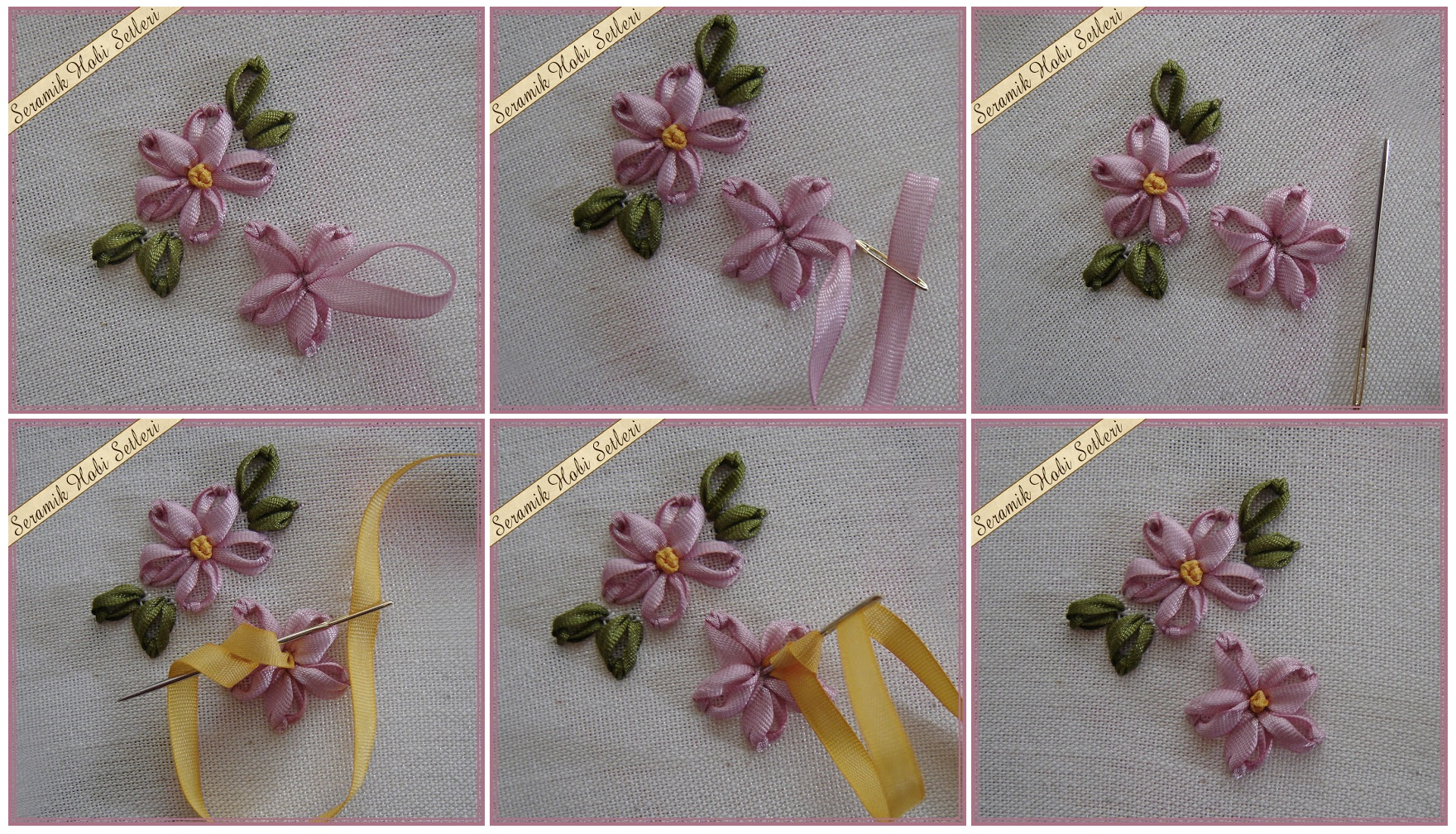 Мк вышивка цветов лентами