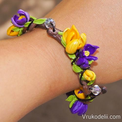 Красивый яркий цветочный браслет из полимерной глины своими руками