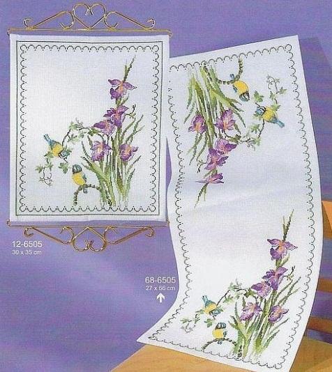 схема для вышивки крестом, цветы, ирисы, синички, птицы, скачать бесплатно схему для вышивки крестом