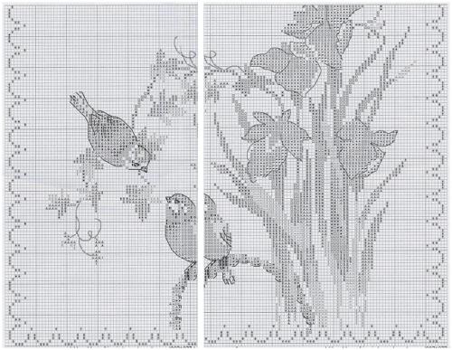 цветы вышивка крестом, схема для вышивки крестом, картина, дорожка, ирисы, цветы, синички, птицы