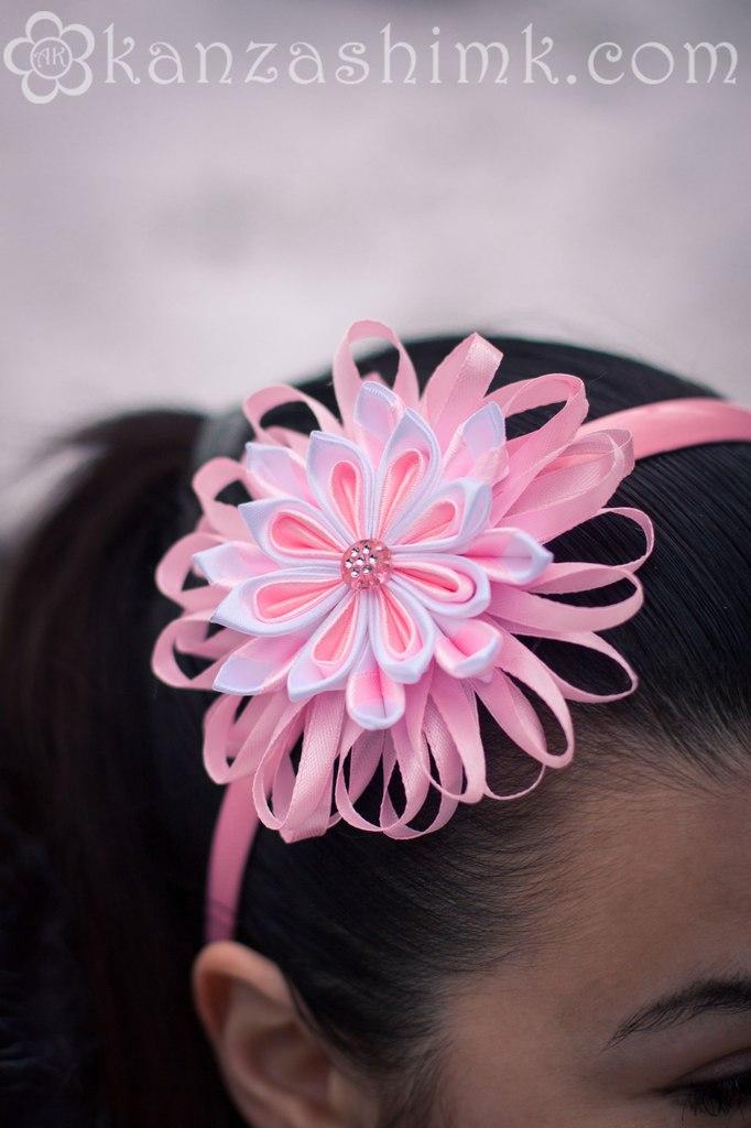 Нежный цветок канзаши мастер класс