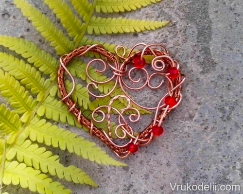 Медный кулон в форме сердца / Wire Wrap / В рукоделии