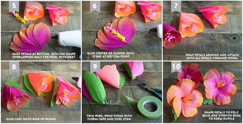 Лёгкие цветы из гофрированной бумаги своими руками