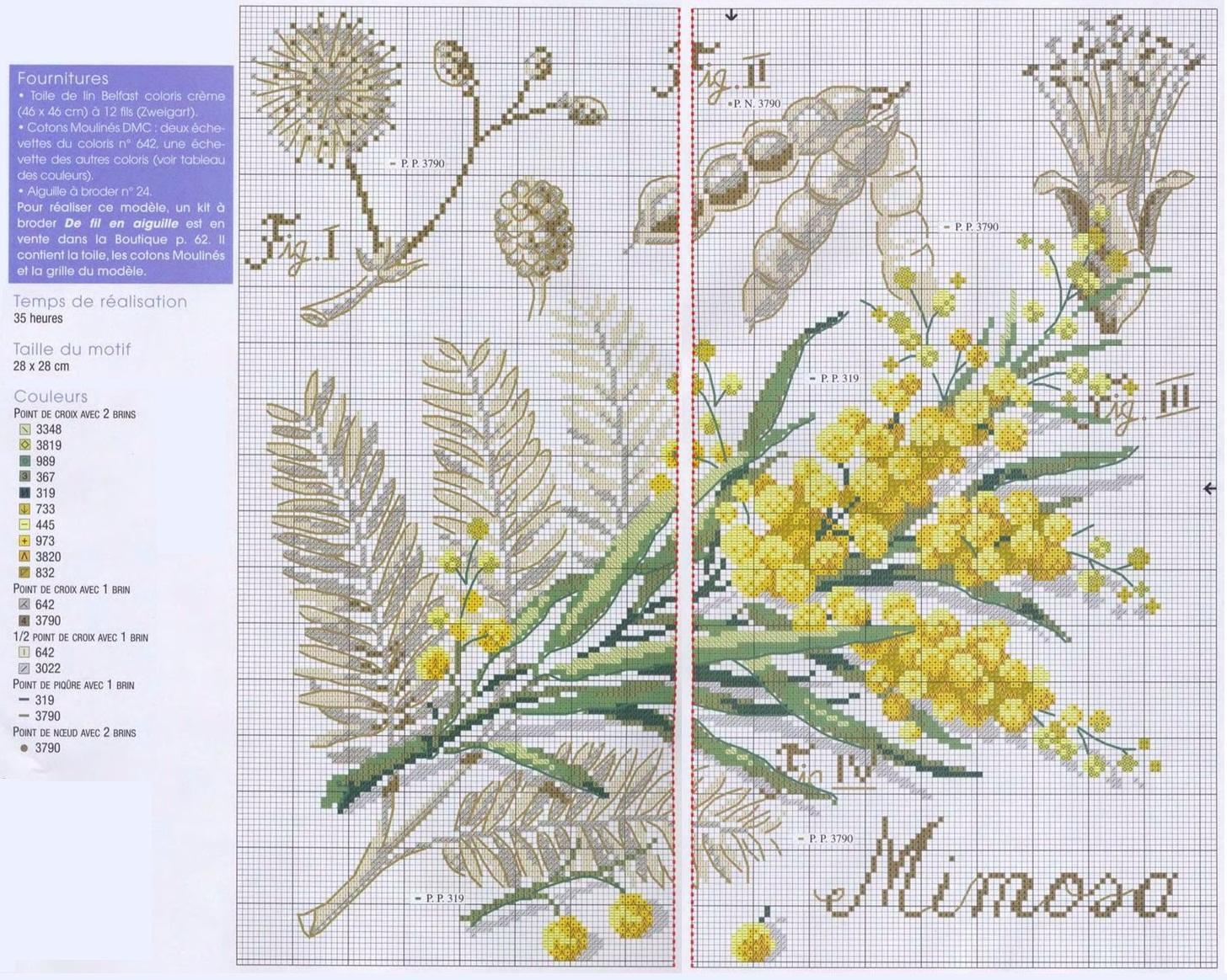 Схема вышивка крестом мимоза
