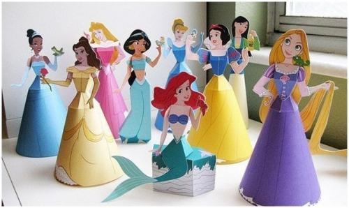 поделки из бумаги с детьми, бумажное моделирование, куклы из бумаги, мастер-класс, творчество с детьми, принцессы <u>краб из оригами</u> диснея, Рапунцель, Золушка, Красавица, Мулан, Жасмин, Русалочка, Похахонтос, Белоснежка