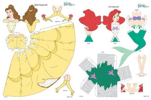 объемные куклы из бумаги, схема для печати, мастер-класс, творчество для детей, Красавица, Русалочка, принцессы Диснея