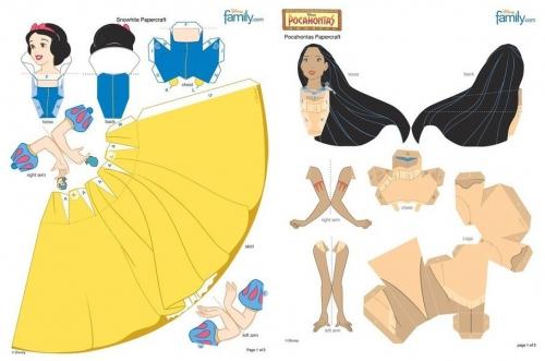 поделки для детей, детское творчество, объемные куклы из бумаги, простой мастер-класс для детей, принцессы Диснея <u>краб</u> Белоснежка, Похахонтос