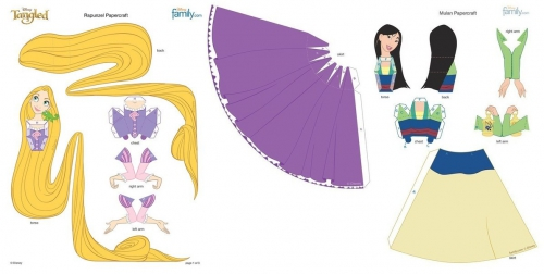 Рапунцель, улан, популярные принцессы Диснея, поделки из бумаги, бумажное оделирование, куклы из бумаги своими руками