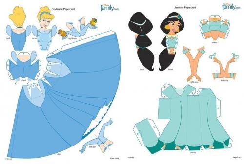 объемные куклы из бумаги, принцессы сказок Диснея, Золушка, Жасмин, детское творчество, поделки с детьми
