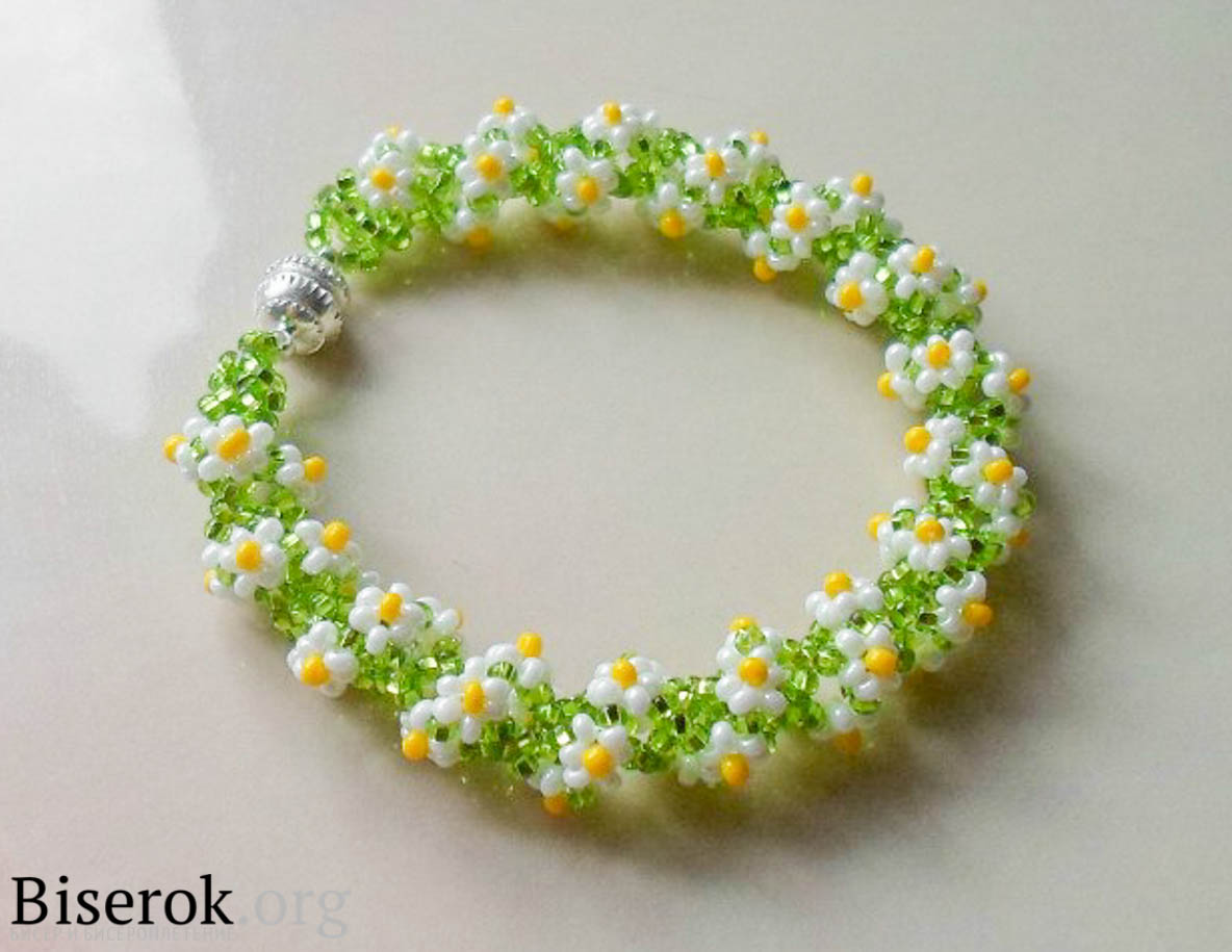 браслет цветочный рай бисероплетение в рукоделии