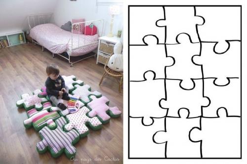 подушки-игрушки для детей, напольные подушки в виде пазла, выкройка пазл, пазлы, шьем детям, простые выкройки для детей