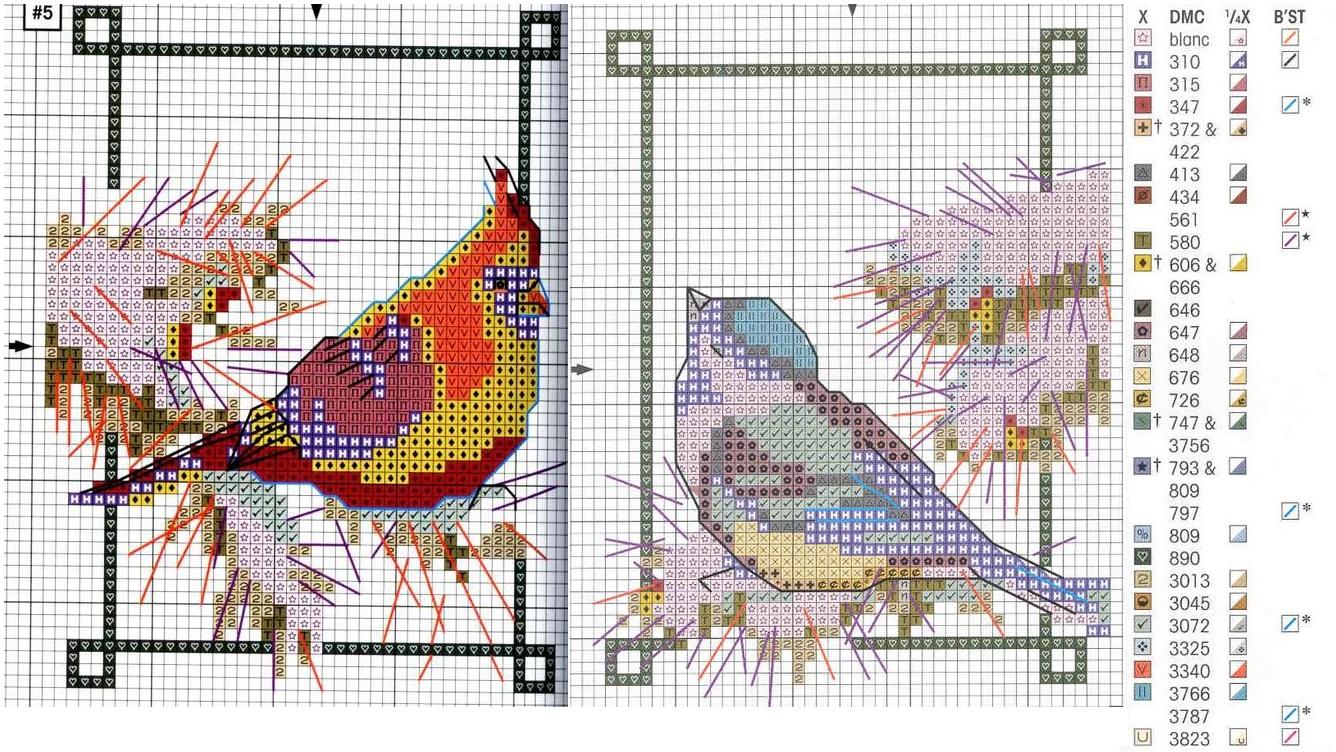 Скачать схемы для вышивки с птичками