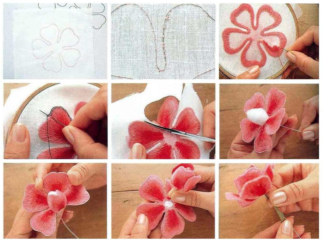 Как сделать объемную вышивку