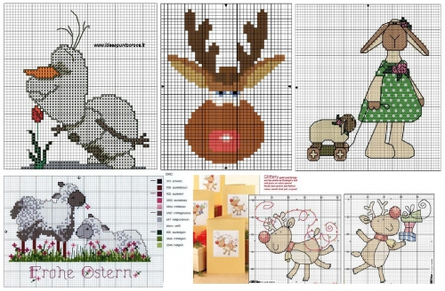 схемы для вышивки крестом , снеговик, олень, овечка, овца, овечки, овцы, олени, простые схемы