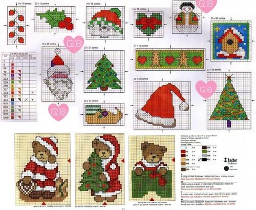 вышивка крестом к новому году, большая подборка простых и миниатюрных схем, елка, елочка, скворечник, шапка санты, еловые веточки, медвежата