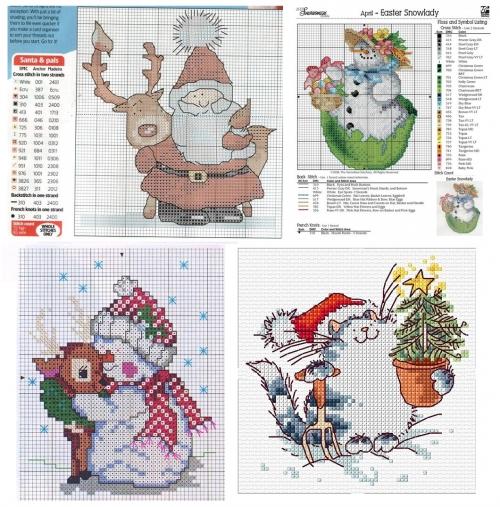 большая побдорка схем для вышивки крестом к новому году, санта и олень, дед мороз олень, кот в шапочке, снеговик и олень, снеговик