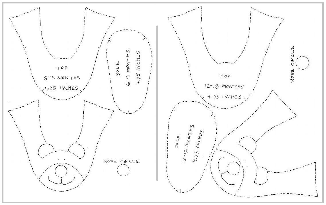 Выкройка домашних детских тапочек своими руками