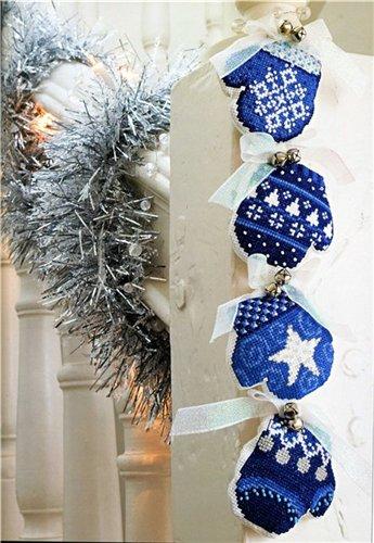 декор к новому году, рождественские варежки своими руками с вышивкой крестом, простая схема, выкройка, варежка, рукавичка, елочные игрушки