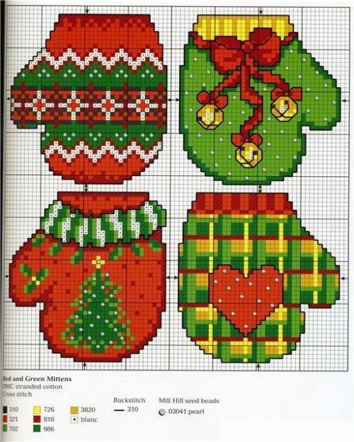 новогодние декоративные варежки и рукавички, вышивка крестом к новому году, схемы, выкройки, простые и красивые елочные игрушки своими руками, как сшить варежку к новому году