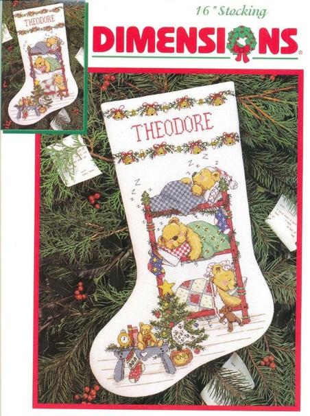 Схема вышивки рождественского носочках