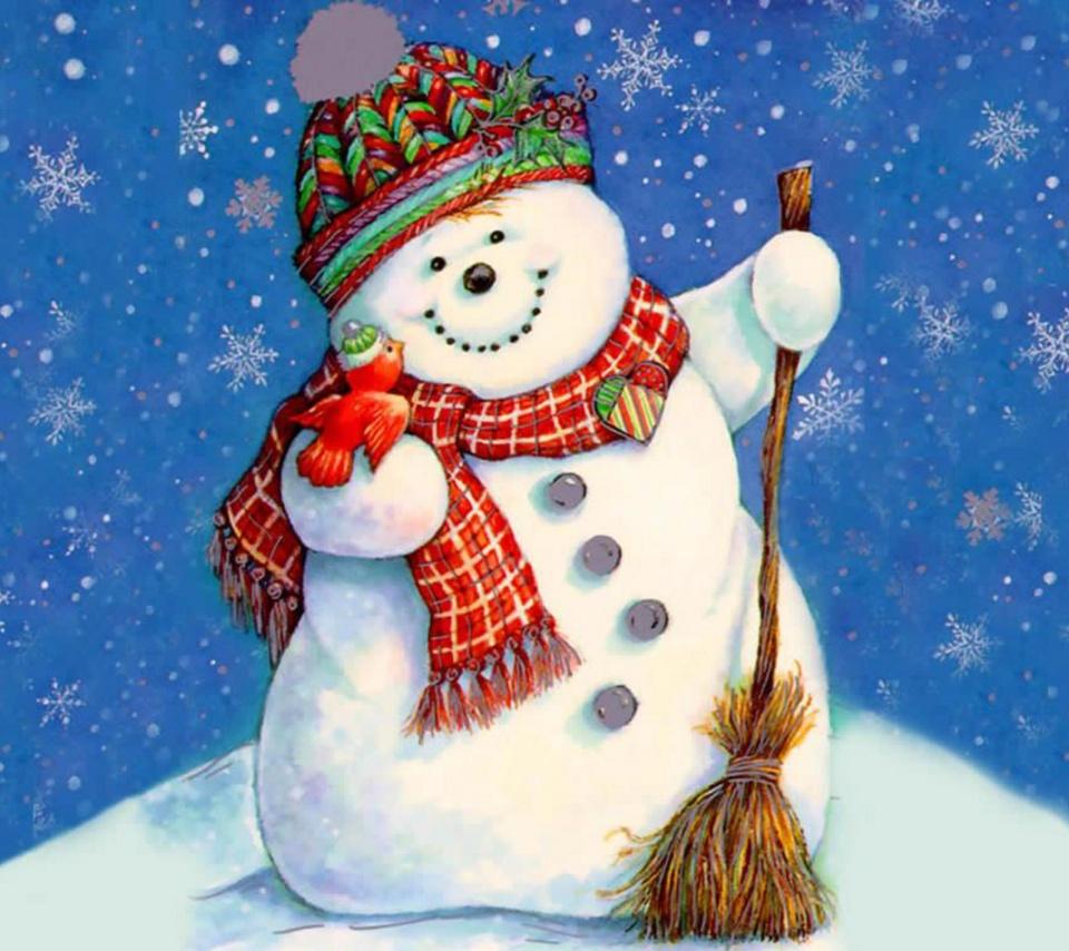 вышивка снеговика крестом схема