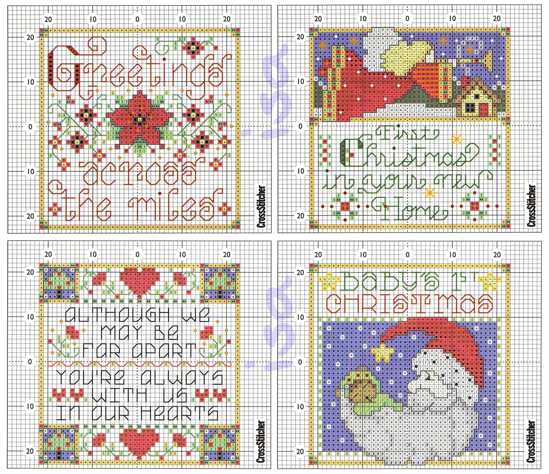 Схемы вышивок для открыток