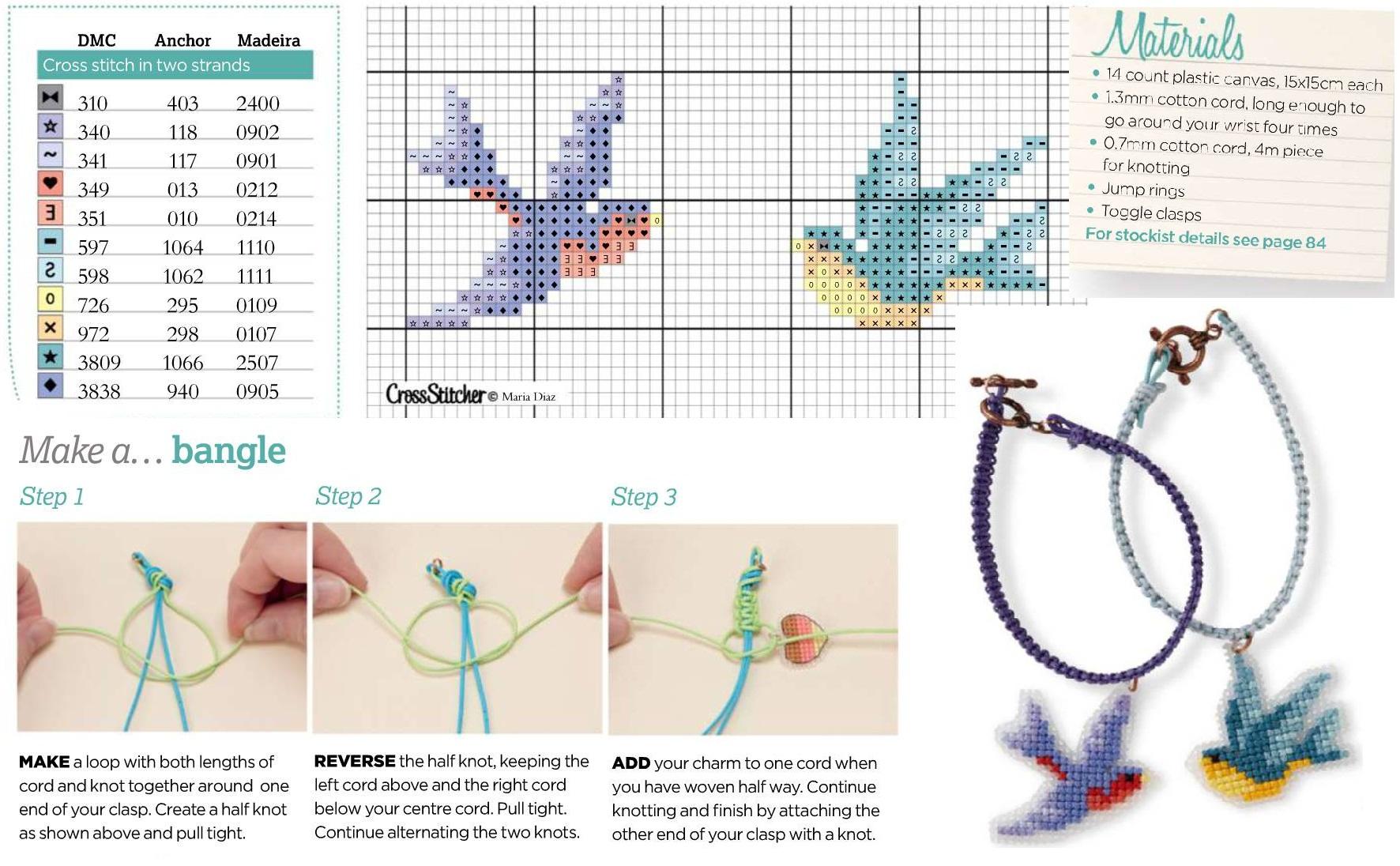 Схема вышивки крестом браслет