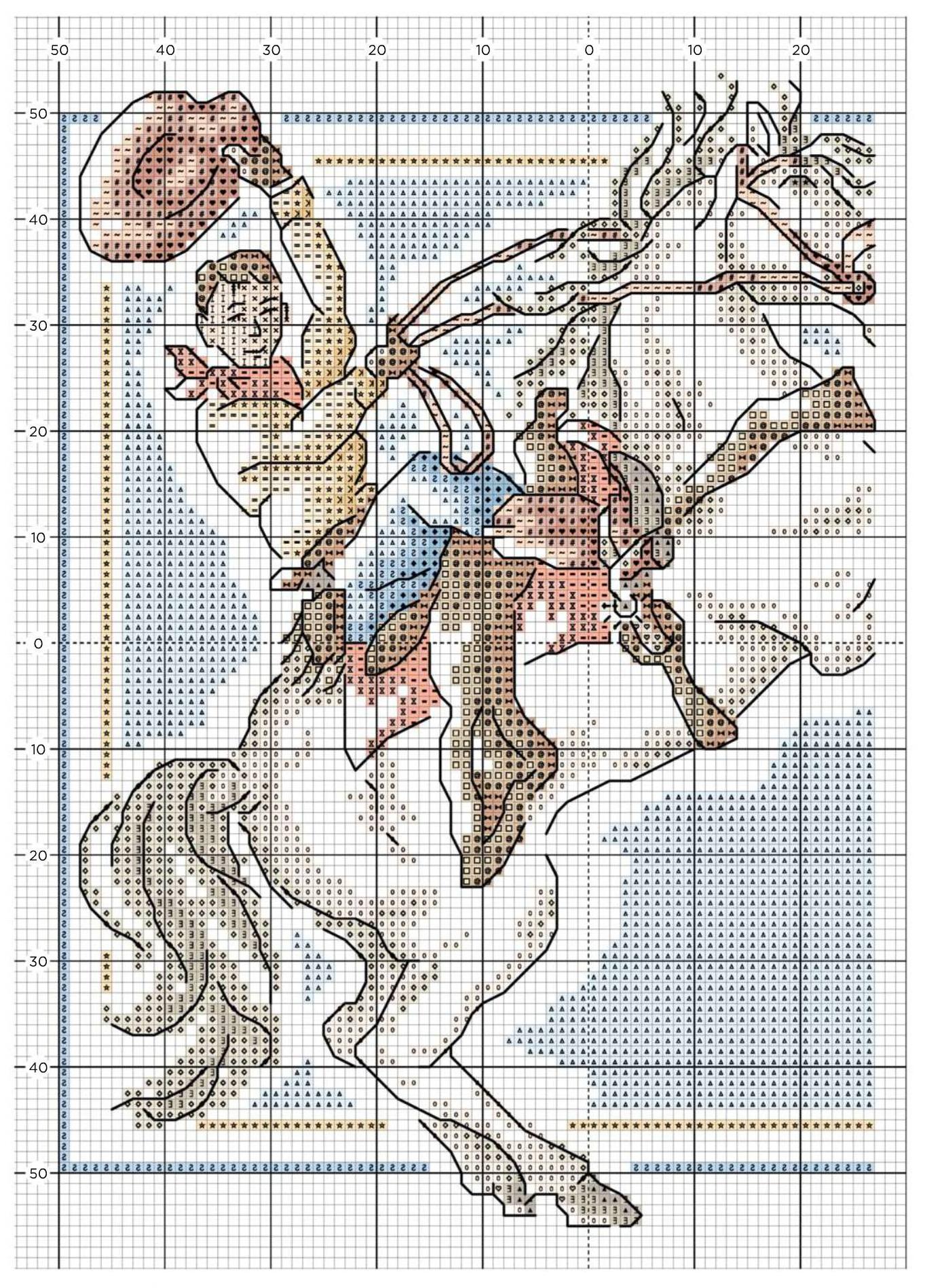 схема вышивки крестиком лошади