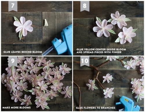 Цветы из гофрированной бумаги для декоративного дерева