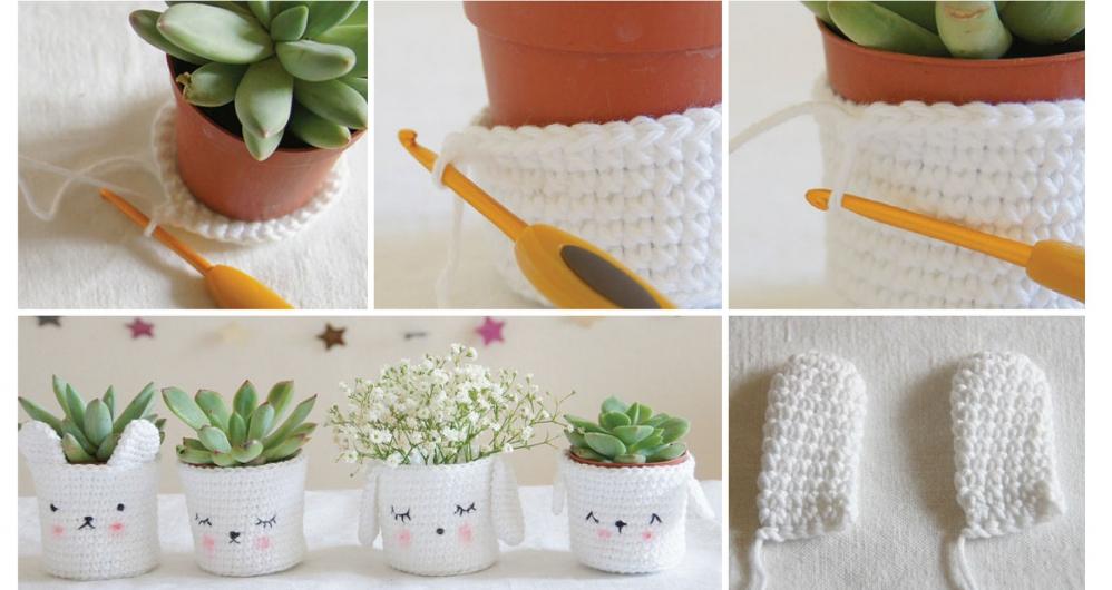 Горшки для цветов вязание
